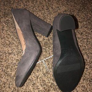 Gray block heels